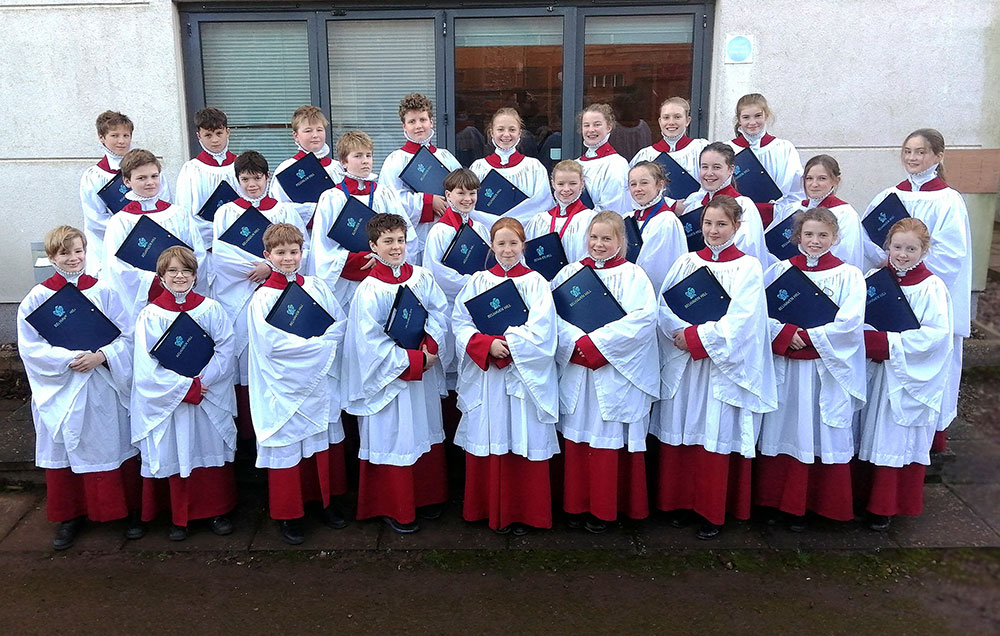 Belhaven Hill Choristers outside the Music School